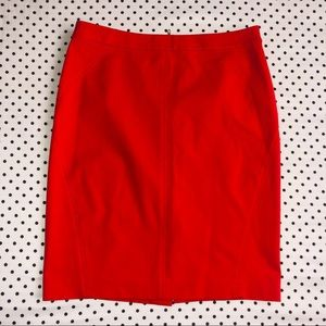 Ann Taylor RedOrange Solid Colored Pencil Skirt 8P